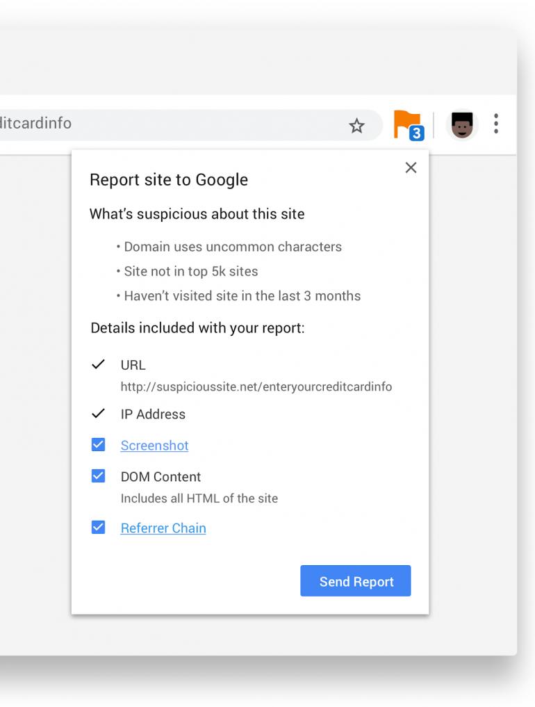 Chrome позволит вам сообщать о подозрительных сайтах