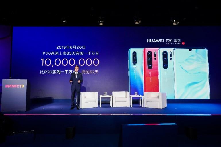 За 85 дней компания Huawei продала более 10 миллионов смартфонов серии P30.