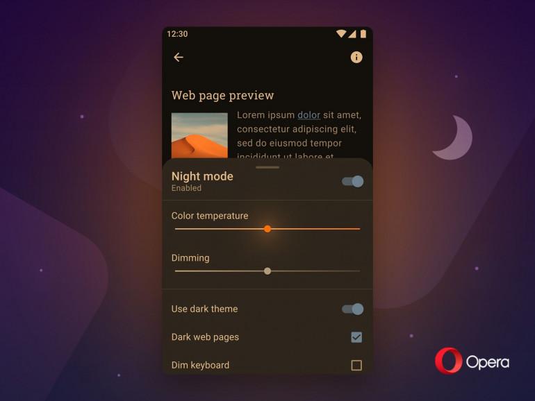 Opera для Android получает новый ночной режим и функцию затемнения