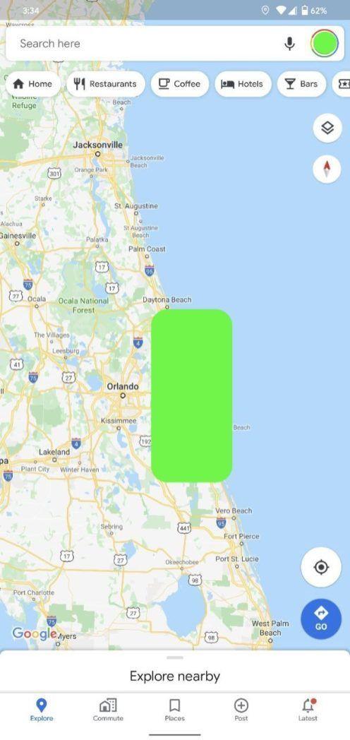 Google тестирует Карты для Android с новым интерфейсом