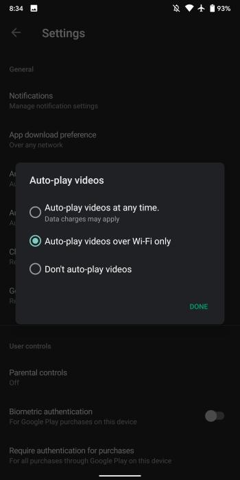 Play Store, исключая автоматическое воспроизведение видео