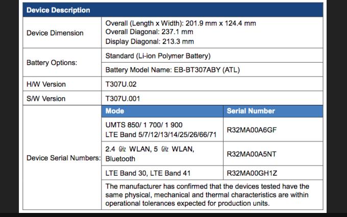 Samsung Galaxy Tab A4S - спецификация в документах FCC
