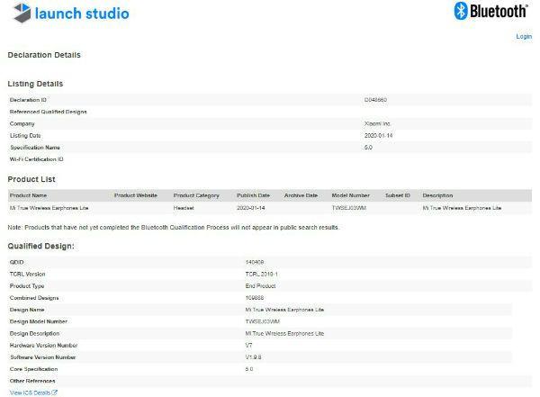 Наушники Xiaomi Mi True Wireless Lite получают сертификат Bluetooth