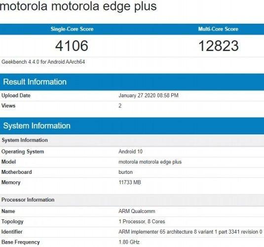 Motorola Edge + появляется в базе данных Geekbench