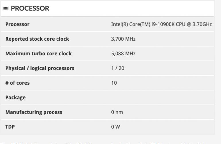Intel Core i9-10900K - тест показывает тактовую частоту 5,1 ГГц