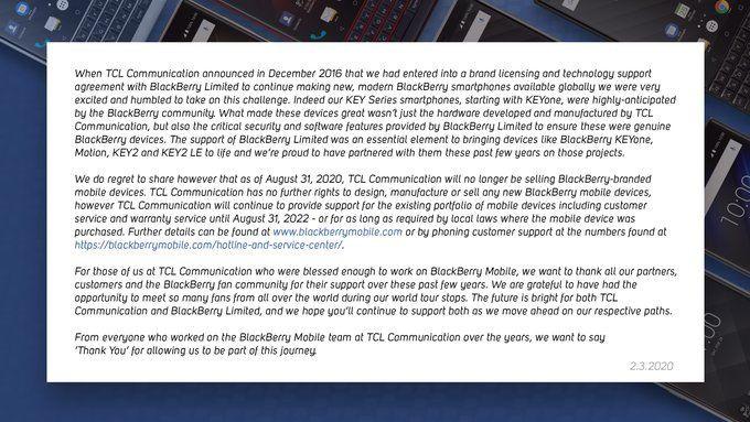 BlackBerry - конец телефонов марки наступит 31 августа