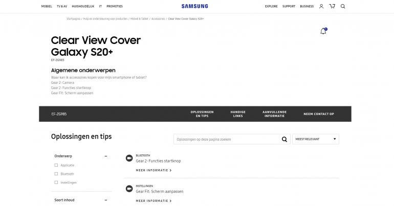 Samsung Galaxy S20 - чехол со светодиодным защитным чехлом появляется на официальных страницах производителя