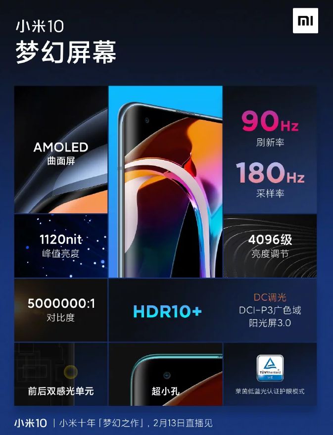 Xiaomi Mi 10 - 90 Гц экран и закругленные края подтверждены