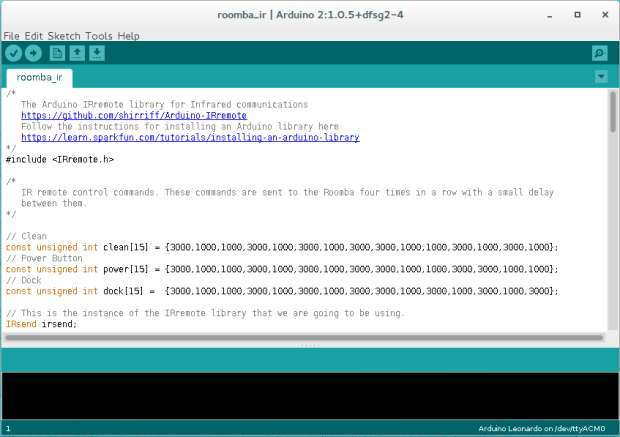 Добавив библиотеку IRremote кода Arduino, вы сможете отправлять инфракрасные (ИК) сигналы управления для Roomba.