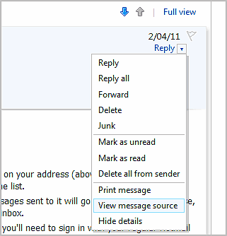hotmail-view-message-source